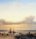 Leickert Charles Moored fisherboats on a beach Sun