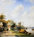 Leickert Charles River scene with tollgate Sun
