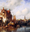 Leickert Charles Summer scene in a Dutch city Sun