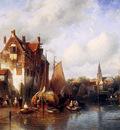 Leickert Charles Summer scene in a Dutch city Sun