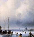 Leickert Charles Winterlandscape with frozen ships detail Su