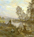 L Hermitte Leon Augustin Figures by a Country Stream