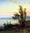 Lieste Cornelis Wanderer at the edge of a mountainlake Sun
