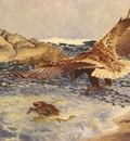 Liljefors Bruno A Sea Eagle Chasing Eider Duck