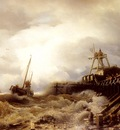 Achenbach Andreas A Fishing Boat Caught In A Squall Off A Jetty