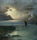Achenbach Andreas Sonnenuntergang am Meer mit aufziehendem Gewitter