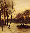 Apol Louis Figures In A Winter Landscape At Dusk