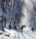 Apol Louis Lodewijk Winter forest view Sun