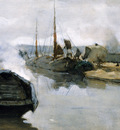 Arntzenius Floris Pieter Moored shiips in city harbour Sun