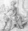 Baldung Grien Phyllis and Aristotle, pen and black ink, Muse