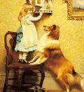 Barber Charles Burton A Little Girl And Her Sheltie