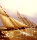Beechey Captain Richard Brydges A Schooner And Cutter Yacht Rounding A Buoy