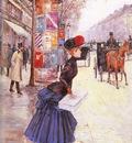 Beraud Jean Jeune Femme Traverrsant Le Boulevard
