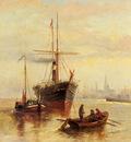 Bezzi Bartolomeo A Harbor Scene With A View Of Venice