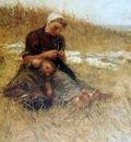 Blommers Bernardus Mother and child in dunes Sun