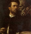 self portrait with death playing a fiddle