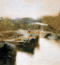 Breitner George Moored ships in city canal Sun