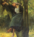Breton Jules French 1827 to 1906 Asleep In The Woods SnD 1877 O C 61 6 by 50 8 cm