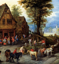 Breughel Jan A Village Street With The Holy Family Arriving At An Inn