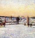 pissarro snowy landscape, eragny, evening
