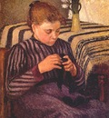 pissarro young girl mending her stockings