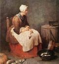 Chardin Girl Peeling Vegetables