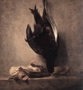 Chardin Still Life with Dead Pheasant and Hunting Bag
