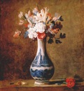 chardin flowers in blue and white vase c1760