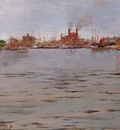 Chase William Merritt Harbor Scene Brooklyn Docks