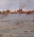 Chase William Merritt Harbor Scene Brooklyn Docks