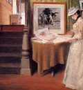 Chase William Merritt Interior Young Woman at a Table