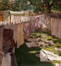 Chase William Merritt Wash Day A Back Yark Reminiscence of Brooklyn