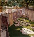 Chase William Merritt Wash Day A Back Yark Reminiscence of Brooklyn