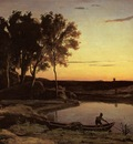 Corot Evening Landscape aka The Ferryman Evening