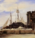 Corot Honfleur The Old Wharf
