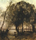 Corot The Lake, 1861, 133x157 5 cm, Frick coll  NY