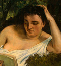 Courbet A Young Woman Reading, detalj 1, 1866 1868, NG Washi