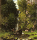 Courbet Gustave A Family Of Deer In A Landscape With A Waterfall