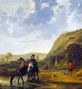 Cuyp Albert Riverlandscape with horsemen Sun