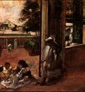 degas children sat down in the house door, 1872