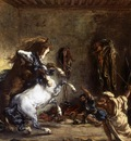 DELACROIX Eugene Arab Horses Fighting in a Stable