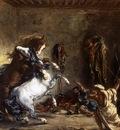 DELACROIX Eugene Arab Horses Fighting in a Stable