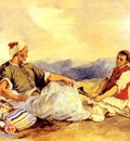 Delacroix Eugene Two Moroccans Seated In The Countryside