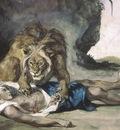 lion rending apart a corpse, delacroix 1600x1200 id