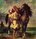 Delacroix Ferdinand Victor Eugene A Moroccan Saddling A Horse