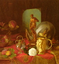 Desgoffe Blaise A Still Life With Fruit Objets D Art And A White Rose On A Table