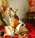 Desgoffe Blaise Alexandre A Still Life With Urns And Illuminated manuscript On A Draped Table