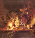 Desgoffe Blaise Still Life With Fruit A Glass Of Wine And A Bronze Vessel On A Ledge
