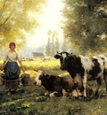 Dupre Julien A Milkmaid With Her Cows On A Summer Day