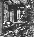 DURER ST  JEROME IN HIS STUDY,1514, ENGRAVING